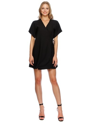 Missguided V Yaka Mini Elbise Siyah